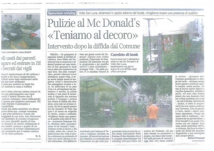 Pulizie al Mc Donald's << Intervento di Verde Fontana dopo la diffidia dal Comune>>